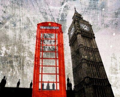 Affisch Gamla London Composing Telefonzelle und Big Ben