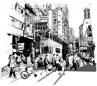 Affisch Gata i Hong Kong - vektor illustration (alla kinesiska tecken är fiktiva)