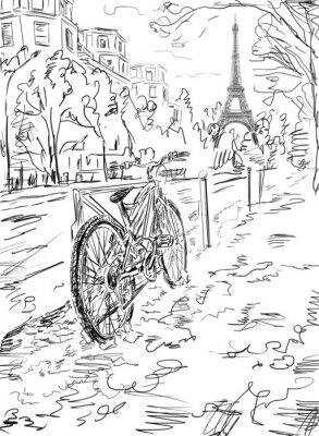 Affisch Gata i höst Paris. Eiffel torn -sketch illustration