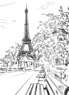 Affisch Gata i Paris. Eiffel torn -sketch illustration