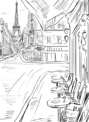 Affisch Gata i Paris -sketch illustration