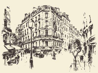 Affisch Gator Paris Frankrike tappning illustration dras