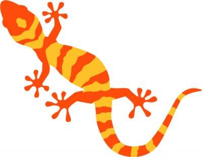 Affisch Gecko med orange och gult mönster