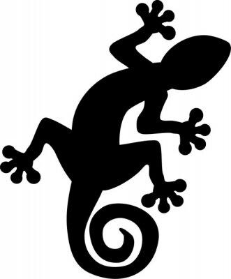 Affisch Gecko ödla silhuett