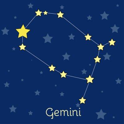 Affisch Gemini Air Zodiac konstellation med stjärnor i kosmos. vektorbild
