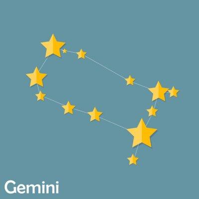 Affisch Gemini stjärntecken i vackra ljusa Stars Vector Illustra