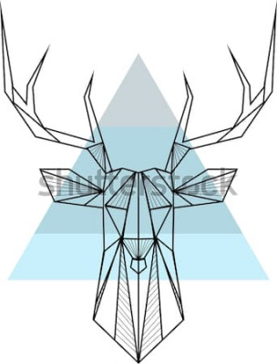Affisch Geometrisk bakgrund för vektorhipsterabstrakt begrepp med hjortar