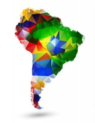 Affisch Geometrisk design KARTA Sydamerikas