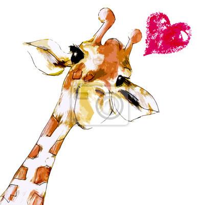 Affisch Giraff med hjärta