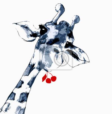 Affisch Giraff med körsbär