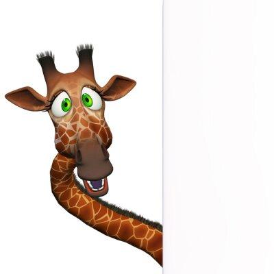 Affisch Giraffet med en tom kartong