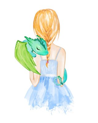Affisch Girl holding little dragon. Hand drawn watercolor illustration