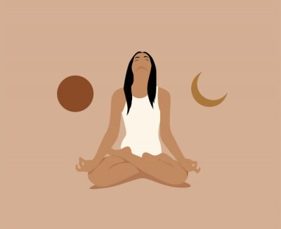 Affisch Girl or woman meditate in lotus asana or position with sun and moon on both sides. Meditation or inner balance concept. Trendy minimalistic pastel terracotta colored vector illustration.
