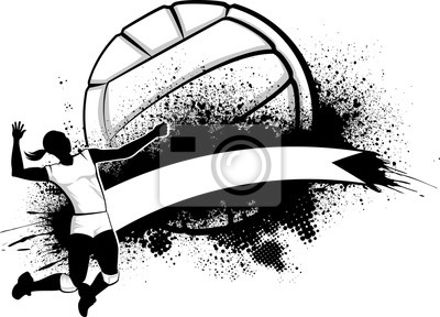 Affisch Girl Volleyboll Grunge Banner