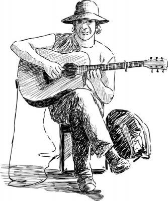 Affisch gitarrist
