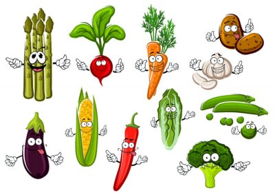 Affisch Glad gård grönsaker seriefigurer