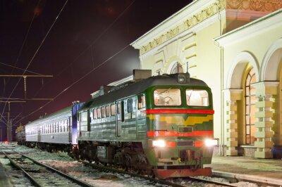 Affisch Gods- och passagerar diesel tåg