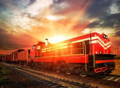 Affisch godståg på morgonen solljus