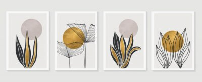 Affisch Gold Botanical wall art vector set. Earth tone boho foliage line art drawing with  abstract shape.  Abstract Plant Art design for print, cover, wallpaper, Minimal and  natural wall art.