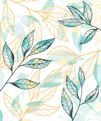 Affisch Golden and green leaves pattern. Hand drawn vector background