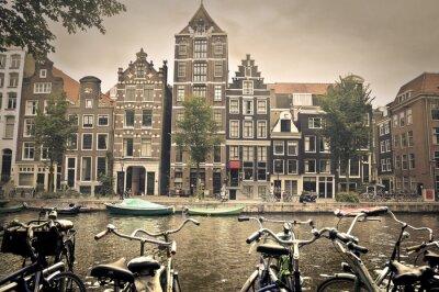 Affisch grå dag i Amsterdam