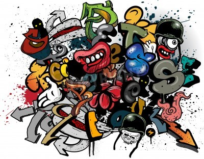 Affisch Graffiti element explosion