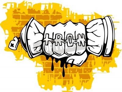 Affisch Graffiti - Fist änden Spray ballon.Vector illustrationen. Vinyl-Ready.