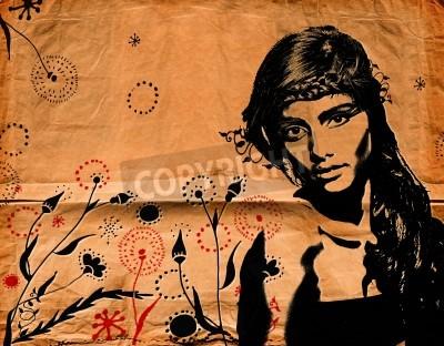 Affisch graffiti modeillustration av en vacker kvinna med långt hår på papper konsistens med grunge effekt