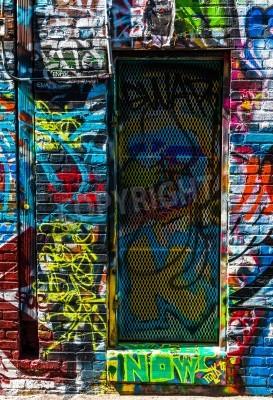 Affisch Graffiti på väggar och dörr i graffiti Alley, Baltimore, Maryland.