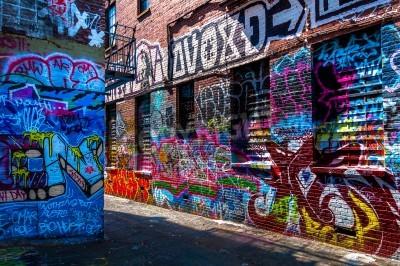 Affisch Graffiti på väggarna i graffiti Alley, Baltimore, Maryland.