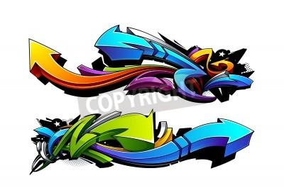 Affisch Graffiti pilar design. Vektor illustration.