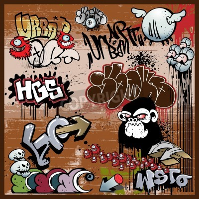 Affisch graffiti urban konst element
