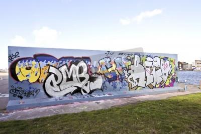 Affisch Graffiti vägg i Amsterdam i Nederländerna