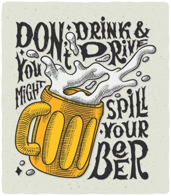 Affisch Grafisk affisch med mugg gravyr och rolig text