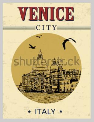 Affisch Grand Canal and Basilica Santa Maria della Salute, Venedig, Italien i tappningstilaffisch, vektorillustration