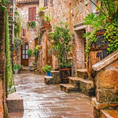 Affisch Gränd i gamla stan Pitigliano Toscana