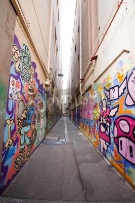 Affisch Gränd i Melbourne med många graffiti på väggen