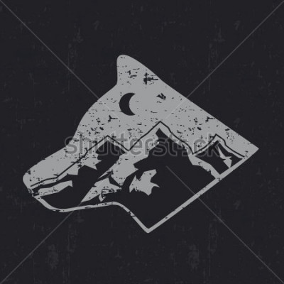 Affisch Gray wolf typography design, t-shirt graphics.