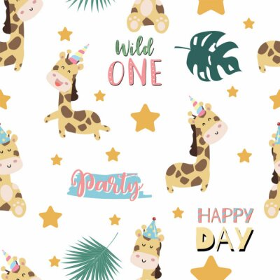 Affisch Green pastel seamless pattern with  giraffe smiling,horn,star. Wording are wild one,party and happy day