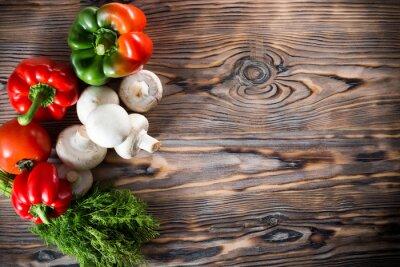 Affisch grönsaker på trä bakgrund