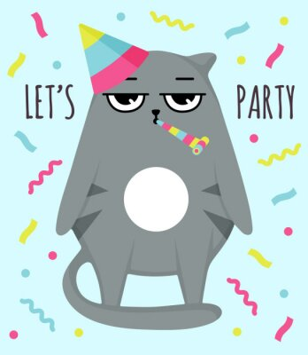 Affisch Grumpy cat invitation card. Let party. Cat in cap. Party atribution. congratulatory postcards
