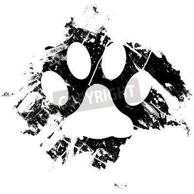 Affisch Grunge husdjur eller katttasstryck. Kan användas som en bakgrund eller som en mindre designelement.