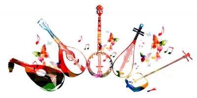Affisch Grupp av musikinstrument med fjärilar