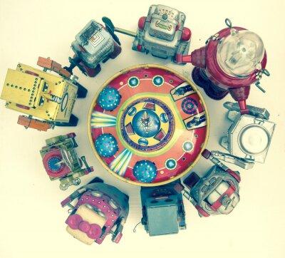 Affisch grupp av robot leksaker