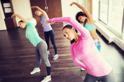 Affisch grupp lyckliga kvinnor som arbetar i gymmet