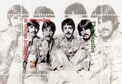 Affisch Guinea - cirka 1996: The Beatles - 1960 berömda musikalisk popgrupp