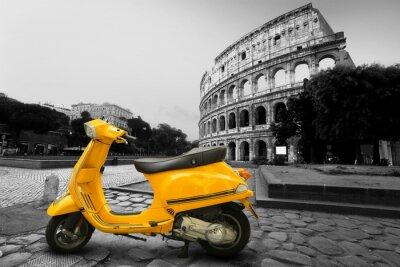 Affisch Gul tappning skoter på bakgrunden av Colosseum