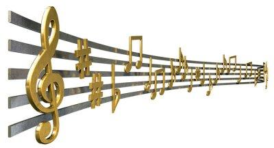 Affisch Guld musik anteckningar på våglinjer