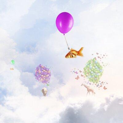 Affisch Guldfisk flyga på ballongen