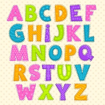 Affisch Gullig rolig barnslig alfabet